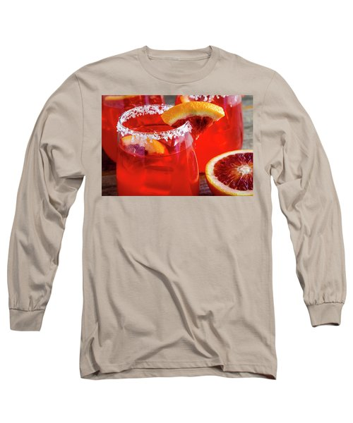 Long Sleeve T-Shirt featuring the photograph Blood Orange Margaritas On The Rocks by Teri Virbickis