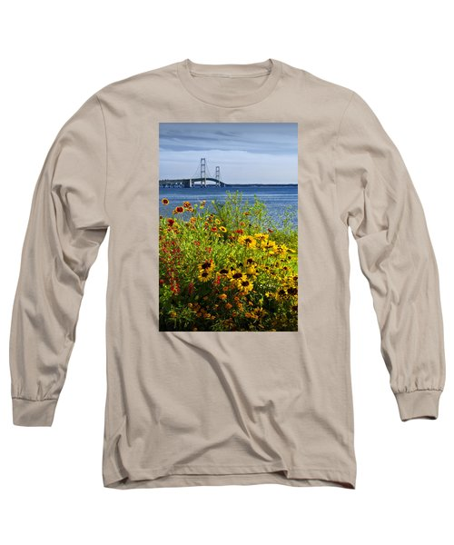 Blooming Flowers By The Bridge At The Straits Of Mackinac Long Sleeve T-Shirt by Randall Nyhof