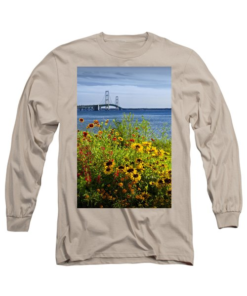 Blooming Flowers By The Bridge At The Straits Of Mackinac Long Sleeve T-Shirt