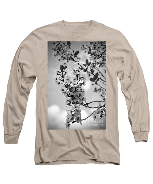 Blossoms In Black And White Long Sleeve T-Shirt