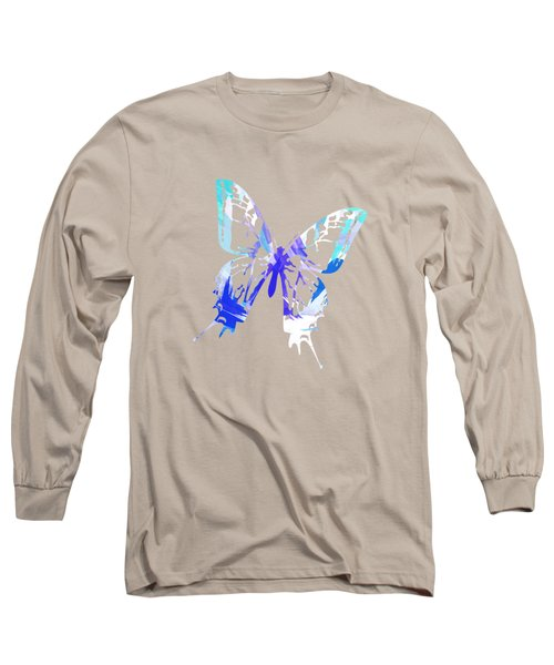 Blue Abstract Paint Pattern Long Sleeve T-Shirt