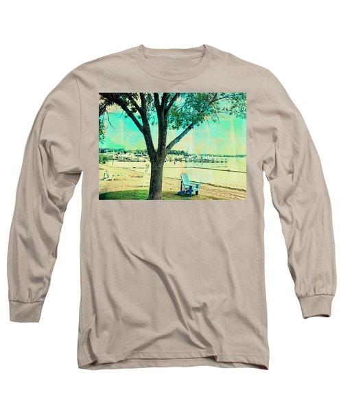 Long Sleeve T-Shirt featuring the photograph Blue Beach Chair by Susan Stone