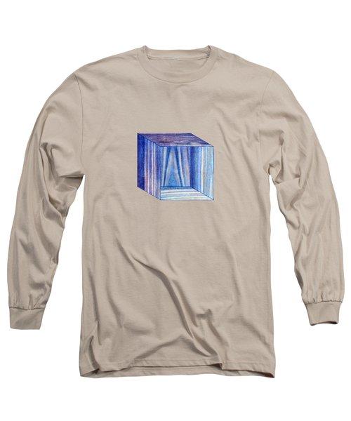 Blue Box Sitting Long Sleeve T-Shirt by YoPedro