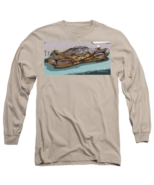 Blue Crab Cartoon Long Sleeve T-Shirt