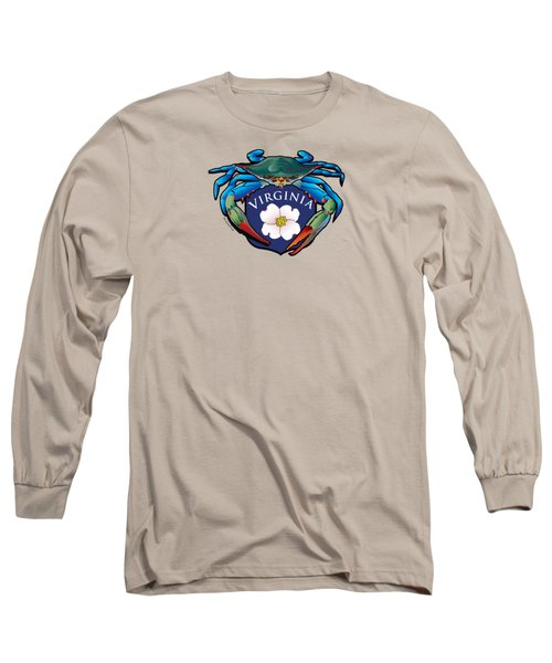 Blue Crab Virginia Dogwood Crest Long Sleeve T-Shirt