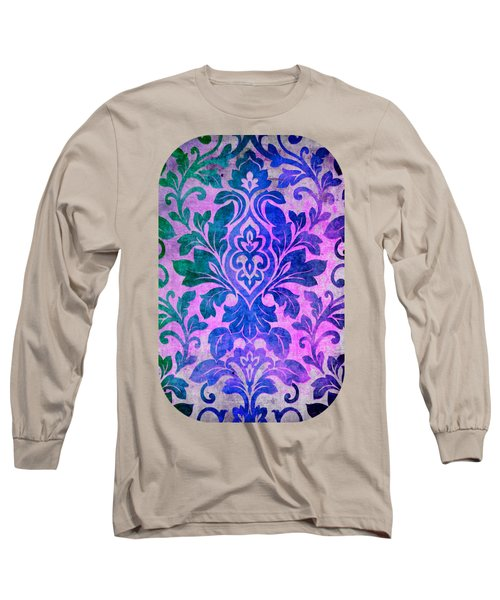 Blue Damask Pattern Long Sleeve T-Shirt