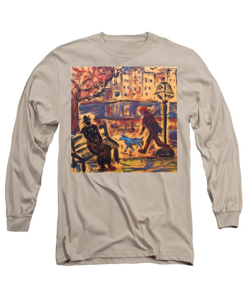Blue Dog In The City Long Sleeve T-Shirt