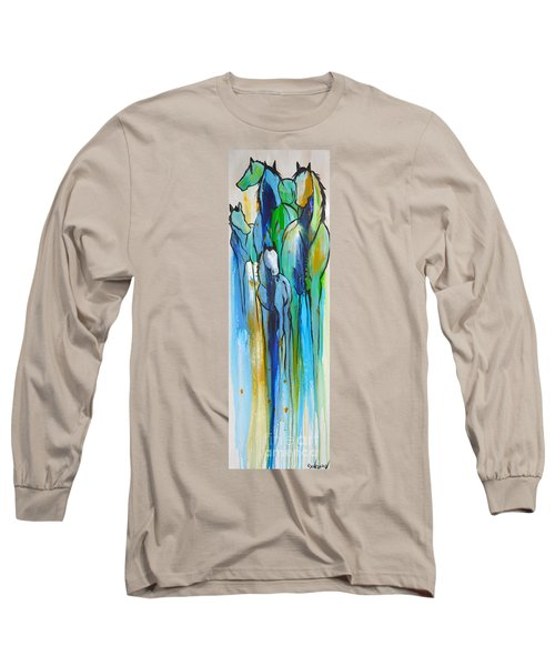 Long Sleeve T-Shirt featuring the painting Blue Drip 2 by Cher Devereaux