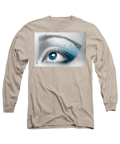 Blue Female Eye Macro With Artistic Make-up Long Sleeve T-Shirt