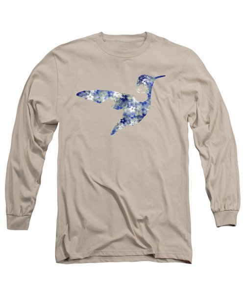 Blue Floral Hummingbird Art Long Sleeve T-Shirt
