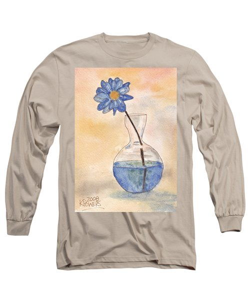 Blue Flower And Glass Vase Sketch Long Sleeve T-Shirt