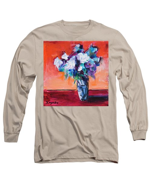 Blue Flowers In A Vase Long Sleeve T-Shirt by Yulia Kazansky