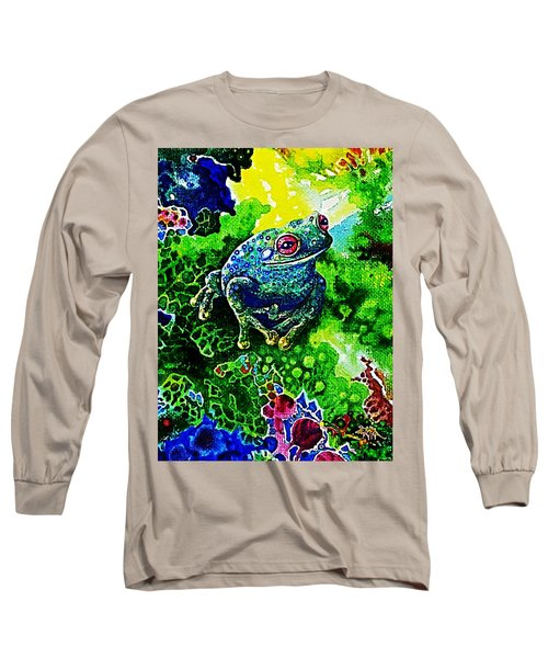 Blue  Frog Long Sleeve T-Shirt by Hartmut Jager