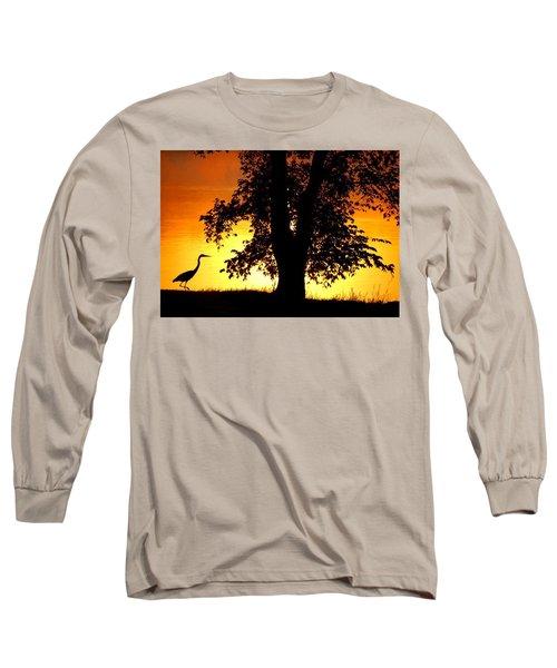 Blue Heron At Sunrise Long Sleeve T-Shirt