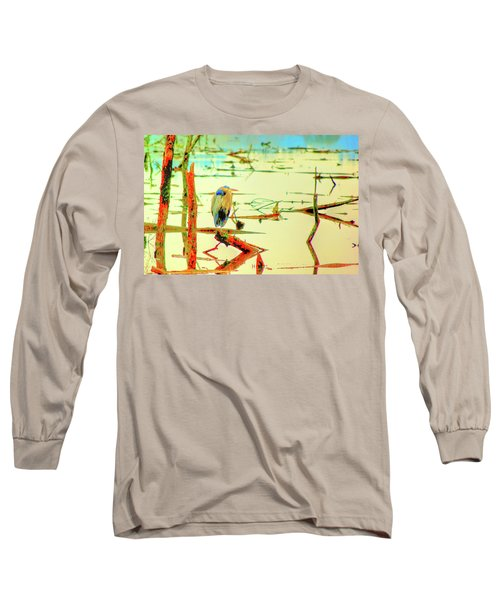 Blue Heron Long Sleeve T-Shirt by Dale Stillman