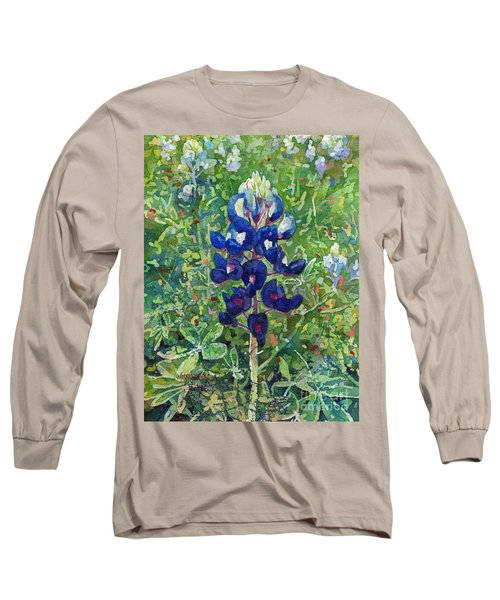 Long Sleeve T-Shirt featuring the painting Blue In Bloom 2 by Hailey E Herrera