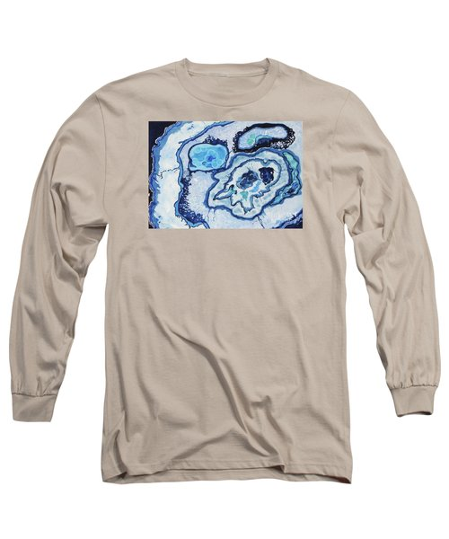 Long Sleeve T-Shirt featuring the painting Blue Lace Agate I by Ellen Levinson