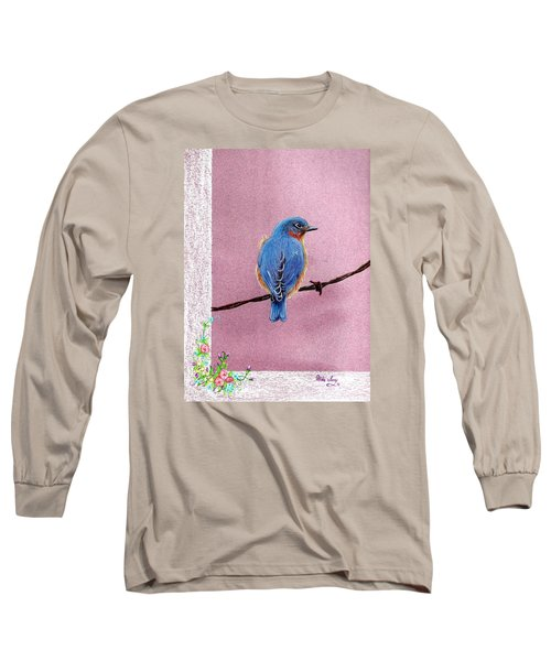 Long Sleeve T-Shirt featuring the drawing Blue by Mike Ivey