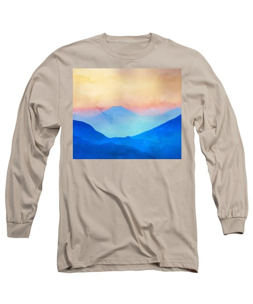 Blue Mountains Watercolour Long Sleeve T-Shirt