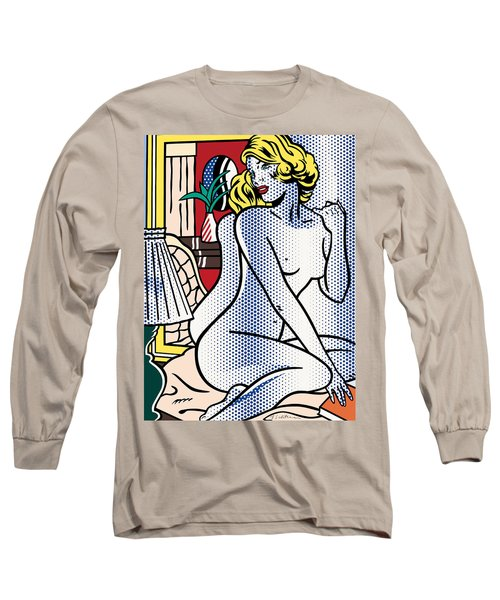 Blue Nude - Pop Art Long Sleeve T-Shirt