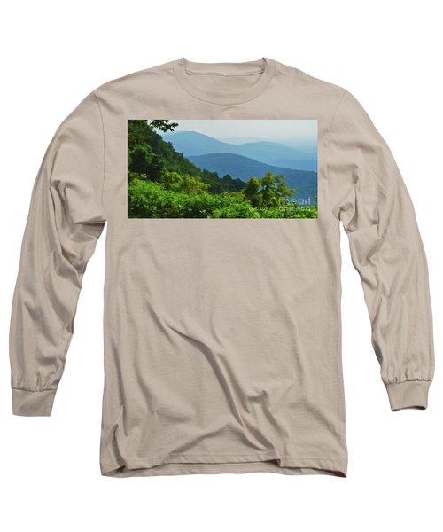 Blue Ridge Mountain Layers Long Sleeve T-Shirt by Kerri Farley