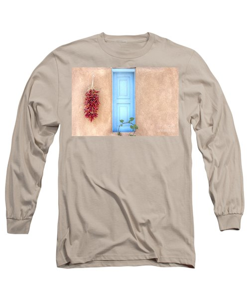 Blue Shutters And Chili Peppers Long Sleeve T-Shirt