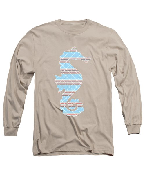 Blue Stripe Pattern Aged Long Sleeve T-Shirt by Christina Rollo