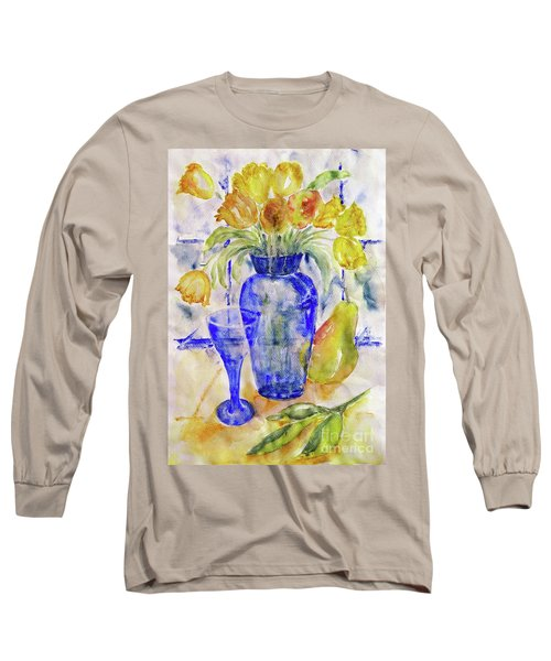 Long Sleeve T-Shirt featuring the painting Blue Vase by Jasna Dragun