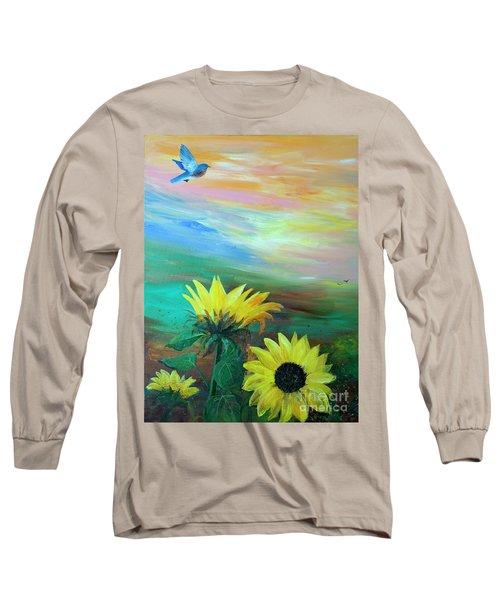 Bluebird Flying Over Sunflowers Long Sleeve T-Shirt