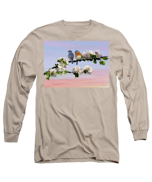 Bluebirds In Apple Tree Long Sleeve T-Shirt