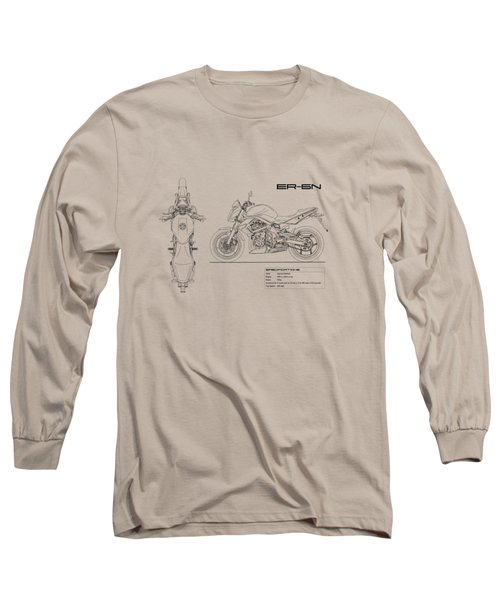 Blueprint Of A Er-6n Motorcycle Long Sleeve T-Shirt