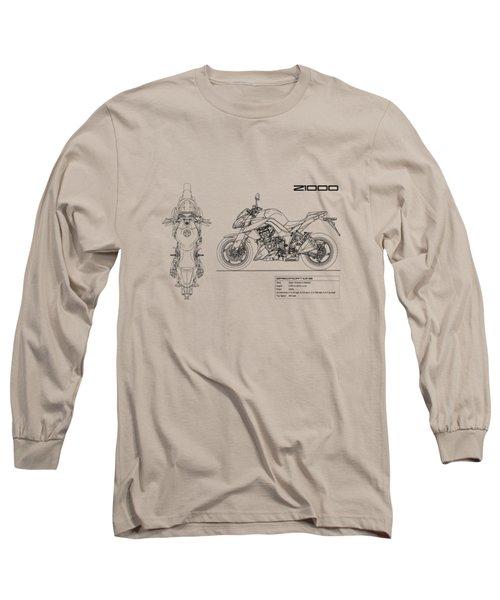 Blueprint Of A Z1000 Motorcycle Long Sleeve T-Shirt