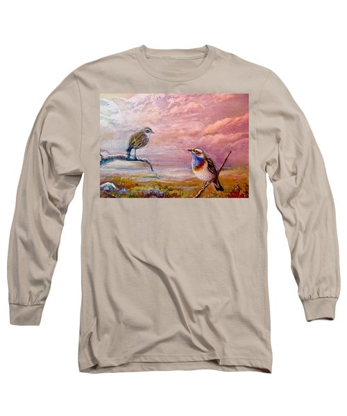 Bluethroat On The Tundra #2 Long Sleeve T-Shirt by Patricia Schneider-Mitchell