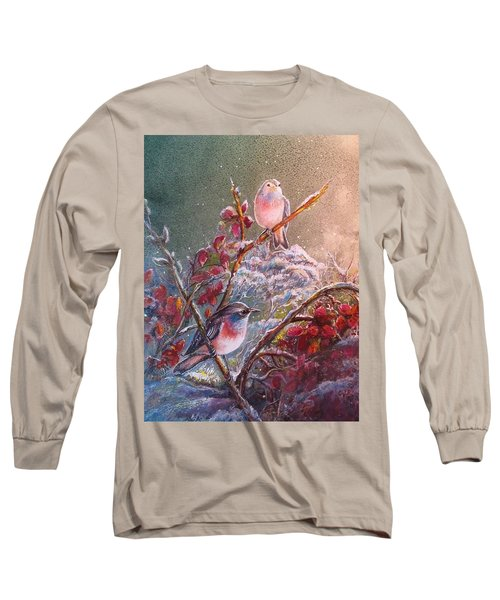 Bluethroat On The Tundra/ #3 Long Sleeve T-Shirt by PS Mitchell