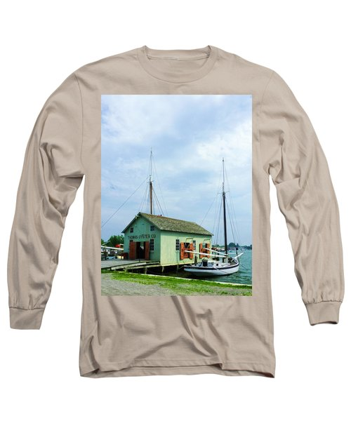 Long Sleeve T-Shirt featuring the photograph Boat By Oyster Shack by Susan Savad