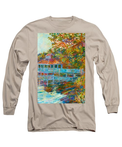 Boathouse At Mountain Lake Long Sleeve T-Shirt by Kendall Kessler