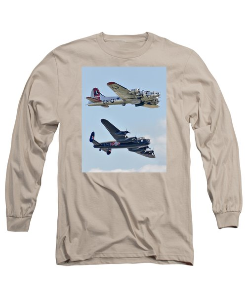 Boeing B-17g Flying Fortress And Avro Lancaster Long Sleeve T-Shirt by Alan Toepfer