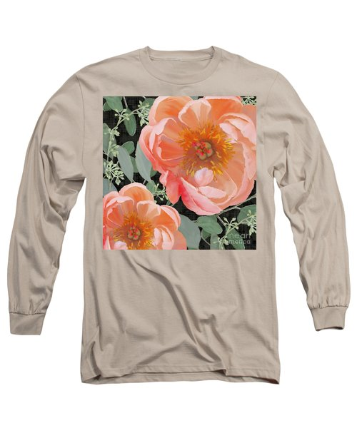 Long Sleeve T-Shirt featuring the painting Bold Peony Seeded Eucalyptus Leaves by Audrey Jeanne Roberts