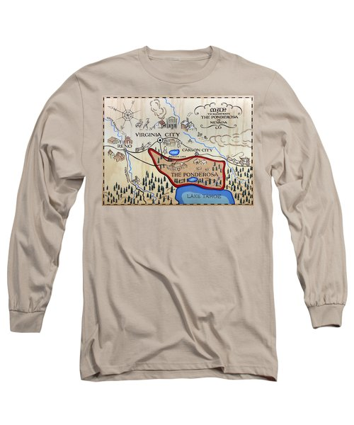 Bonanza Series Ponderosa Map  1959 Long Sleeve T-Shirt