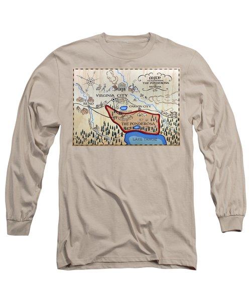 Bonanza Series Ponderosa Map  1959 Long Sleeve T-Shirt