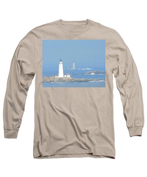 Boston Harbors Lighthouses Long Sleeve T-Shirt by Catherine Gagne
