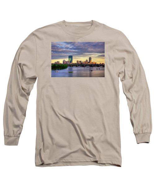 Boston Skyline Sunset Over Back Bay Long Sleeve T-Shirt by Joann Vitali