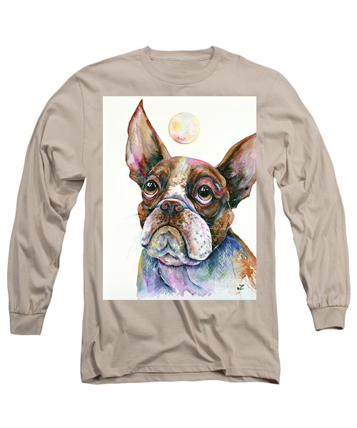 Long Sleeve T-Shirt featuring the painting Boston Terrier Watching A Soap Bubble by Zaira Dzhaubaeva