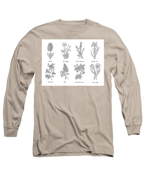 Botanical Flowers Decorative Drawing  Long Sleeve T-Shirt