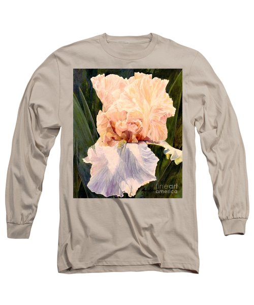 Botanical Peach Iris Long Sleeve T-Shirt by Laurie Rohner