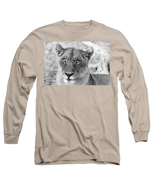 Botswana  Lioness In Black And White Long Sleeve T-Shirt