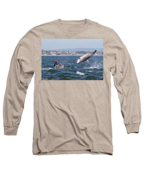 Long Sleeve T-Shirt featuring the photograph Bottlenose Dolphins - Moray Firth Scotland #45 by Karen Van Der Zijden