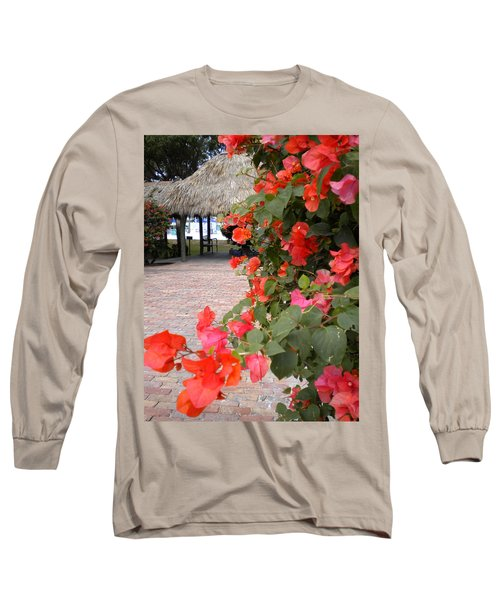 Long Sleeve T-Shirt featuring the painting Bouganvilla 2 by Renate Nadi Wesley