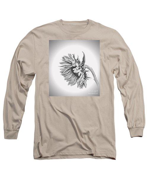 Bowed Sunflower Bw Long Sleeve T-Shirt by Shirley Mangini