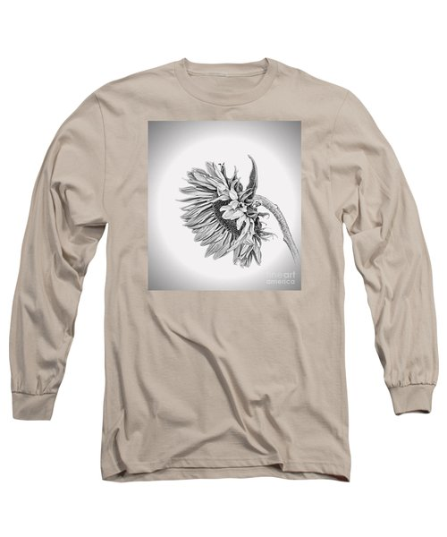 Bowed Sunflower Bw Long Sleeve T-Shirt